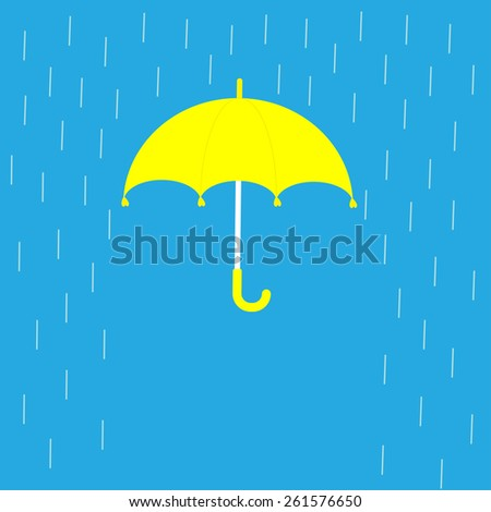 Blue Umbrella And Rain Lines. Template. Flat Design Stock Photo