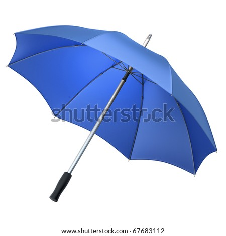 blue umbrella (clipping path) - stock photo