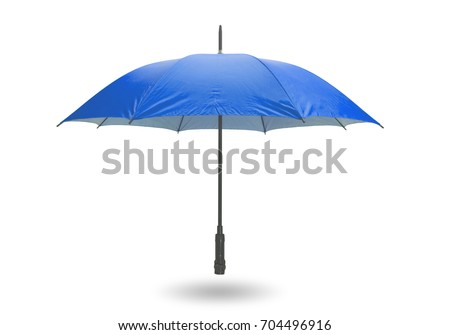 Blue umbrella isolated on white background with clipping path. #704496916