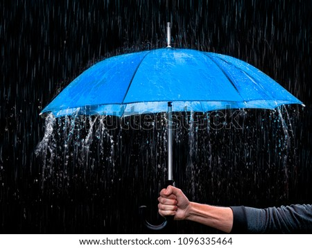 Blue Umbrella Rain #1096335464