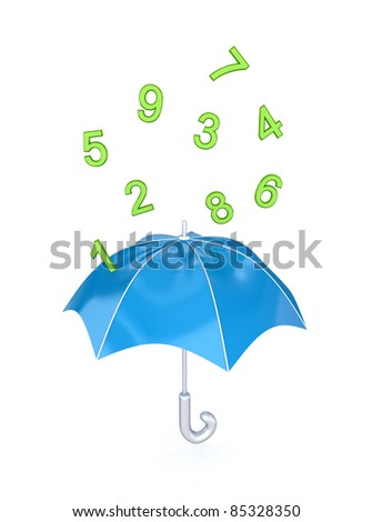 Blue umbrella under the rain of green numbers.Isolated on white background.