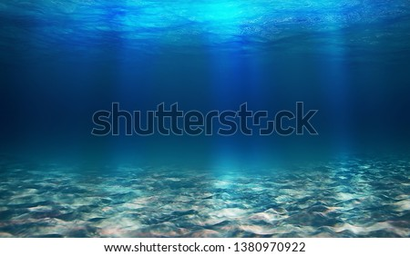 Blue underwater world, very blonde color, lots of sand, bright light at the bottom with sand #1380970922