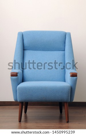 blue upholstered armchair, wool fabric #1450995239