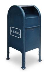 blue US mailbox on white background