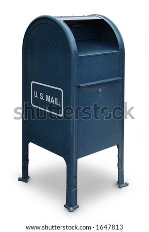 blue US mailbox on white background