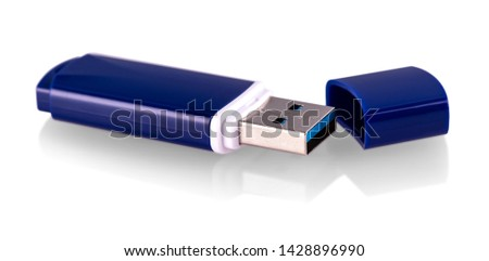 Blue usb flash drive, flash card isolated on white background  #1428896990