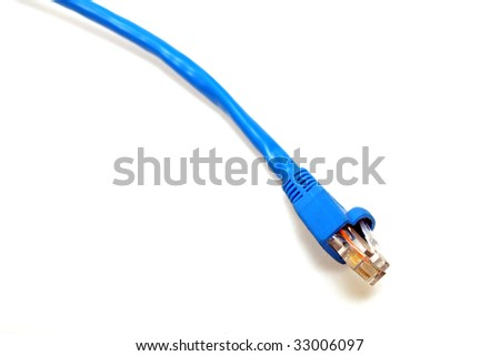 blue utp cat5 network cable isolated on white background