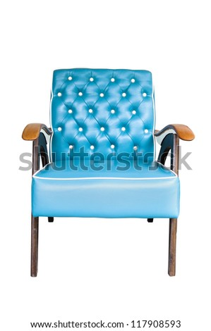 Blue vintage arm chair  isolated on white background