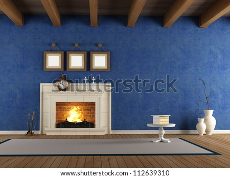 blue vintage interior with classic fireplace and wooden ceiling