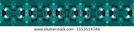 Blue Vintage Repeat Pattern Tile. Ornamental Geometry. Ornate Tile Background Black Indigo Decoration print. Antique Element Royal Kaleidoscope Effect. Floral Elements Floral Elements