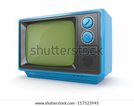 Blue vintage retro tv on white background. 3d