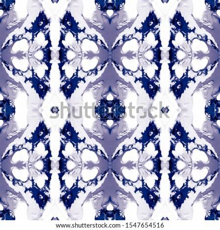 Blue Vintage Seamless Background. Ethnic Ornament Print. Ethnic Ornament Print. Plastic Blue Tile Dressing element Antique Element Luxury Kaleidoscope Effect. Floral Elements Floral Elements