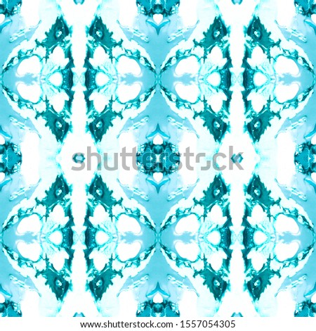Blue Vintage Seamless Background. Ornamental Geometry. Ornamental Geometry. Plastic Blue Tile Embroidery net. Asian Ornament. Luxury Kaleidoscope Art. Floral Elements Floral Elements