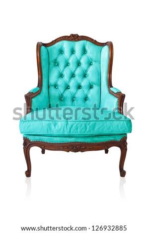 Blue vintage style sofa isolated on white background.