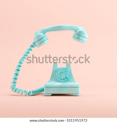 Blue vintage telephone on pink pastel color background. minimal idea concept. #1011951973