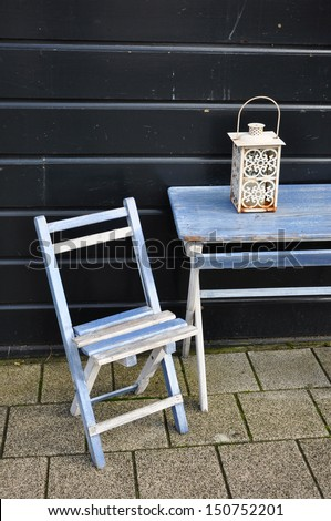 Blue vintage wooden chair and table