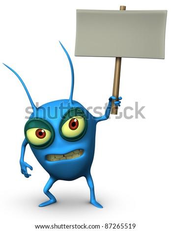 blue virus holding placard