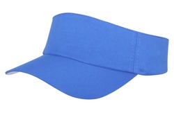 Blue visor, in lateral position on a white background, isolated