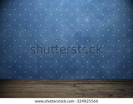 Blue wall and wooden floor. Retro background #324825566