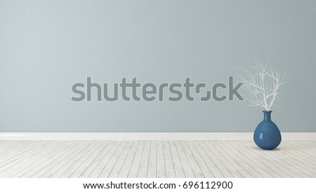 blue wall background with blue plant pot in the room decoration idea 3d rendering by Sedat SEVEN