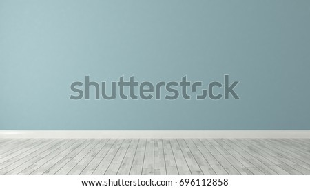 blue wall background with white parquet in the room decoration idea 3d rendering by Sedat SEVEN