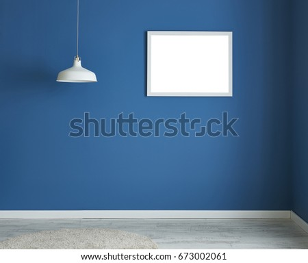 blue wall empty living room with and living area, interior design decorative accessories