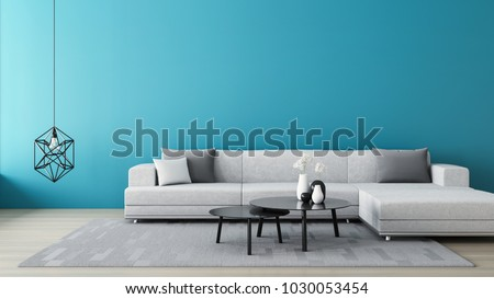 Blue wall living room / 3D render interior