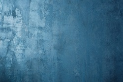 Blue wall. Structure of decorative plaster.