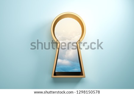 Blue wall with golden keyhole window and sky view. Access and success concept. 3D Rendering  Foto stock ©