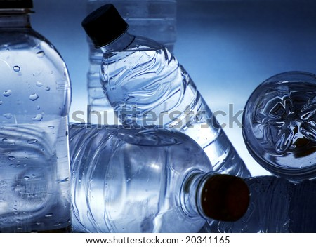 blue water bottles