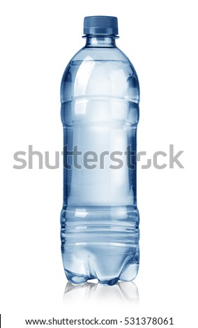 blue   water bottles isolated on white background
