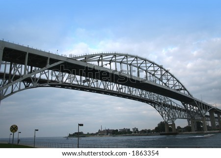 Blue water bridge between America and Canada