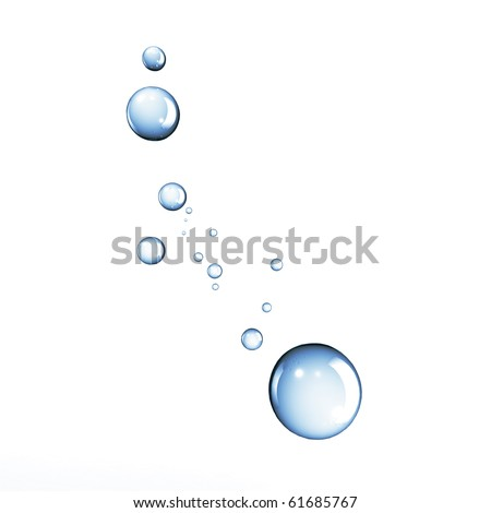 Blue water bubbles or drops isolated on white background