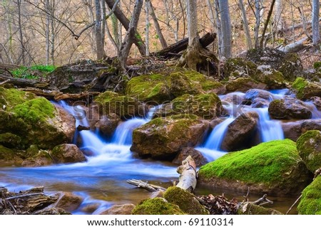 blue water cascades on a mountain river