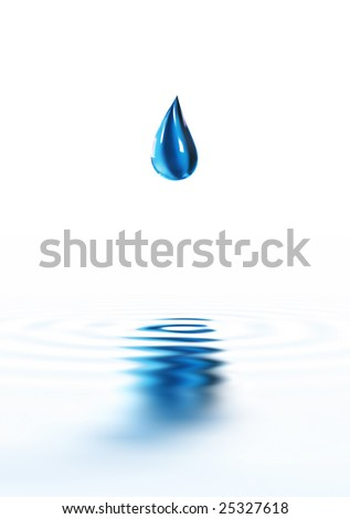 Blue water drop dripping. Over white background