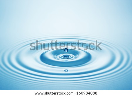 Blue water drop falling down