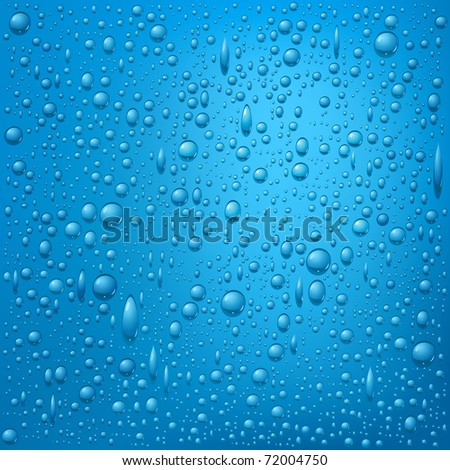 Blue water drops background. Raster version of vector illustration.