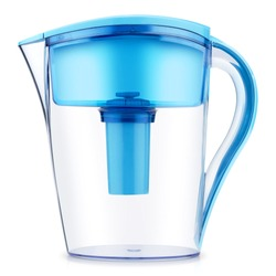 Blue Water Filter Jug with Cartridge Isolated on White Background. Plastic Pitcher Water Filter with Indicator Filter Side View. Household Container for Water. Modern Kitchenware
