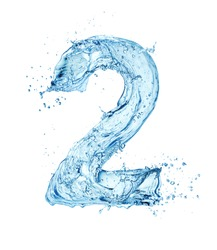 blue water font number 2 isolated on white background