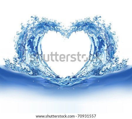 Blue water heart. Illustration on white background - stock photo