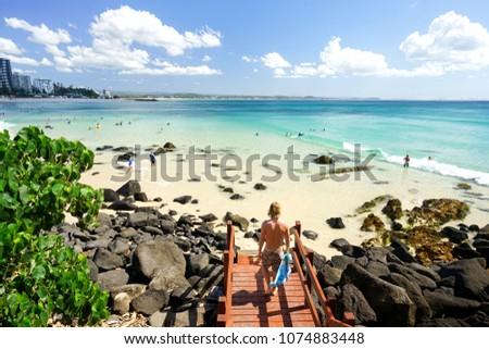 Blue water of the Southern Gold Coast, Coolangatta, Queensland, Australia.