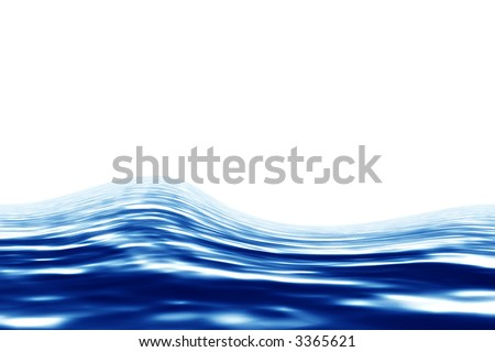 Blue water over white background. Render