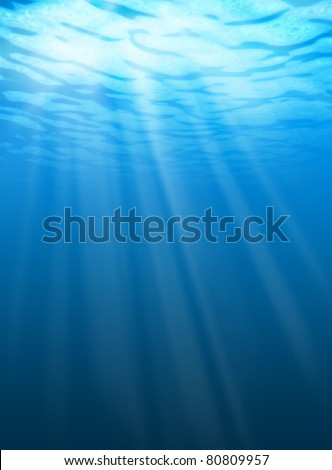 Blue water ripples underwater. Texture of background