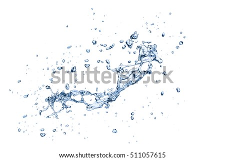 blue water splash isolated on white background #511057615