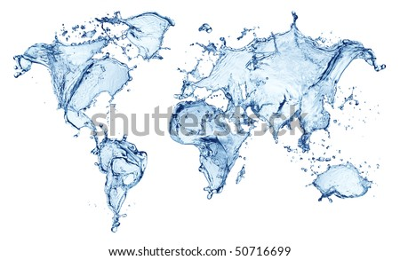 blue water splash (world map) isolated on white background
