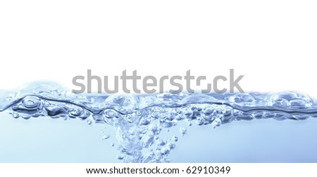 Blue Water surface, isolated on white background.
