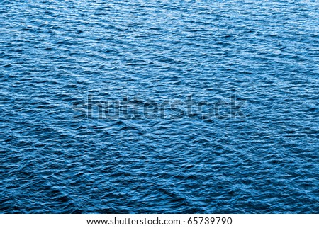 Blue water texture of ocean, lake water surface, background.