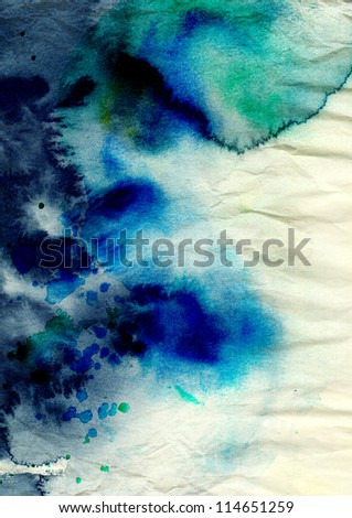 Blue watercolor background on grunge texture
