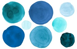 Blue Watercolor Circle. Graphic Acrylic Blots on Paper. Fresh Art Rounds Elements. Hand Paint Watercolor Circle. Indigo Isolated Drops Splatter. Pastel Dots. Teal Watercolor Circle.