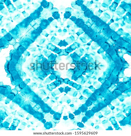 Blue Watercolor Geometric Tie Dye. Hand Drawing Paint. Turquoise Indigo Abstract Painting Drops Artwork Pattern. Dyed Dirty Art Texture. Blue African Pattern. Abstract Painting